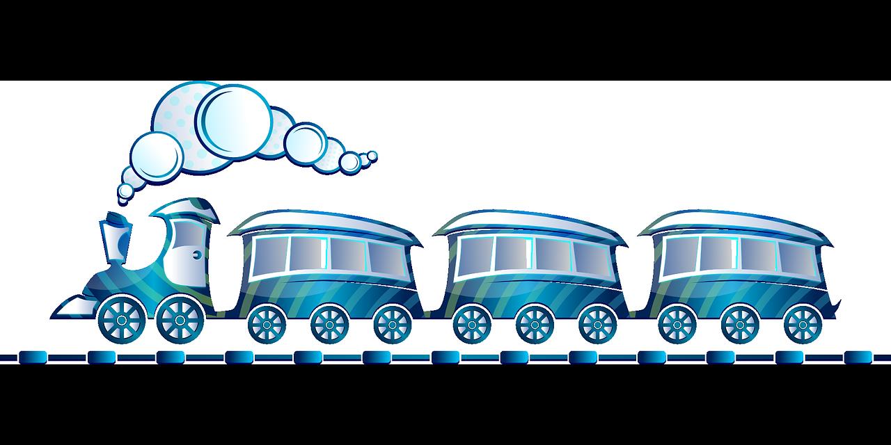 trein blauw